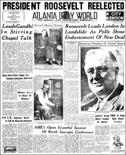 Atlanta Daily World front page, November 4, 1936