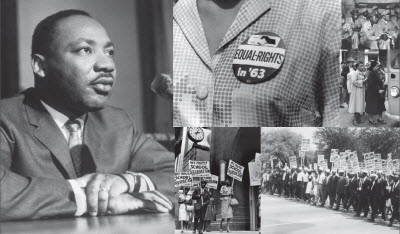 Dr. Martin Luther King, Jr. and images from the U.S. civil rights movement