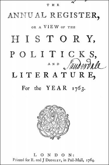 Annual Register, 1763