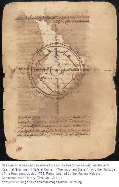 Nasir al-Din Abu al-Abbas Ahmad ibn al-Hajj al-Amin al-Tawathi al-Ghalawi. Kashf al-Ghummah fi Nafa al-Ummah (The Important Stars Among the Multitude of the Heavens), copied 1733.