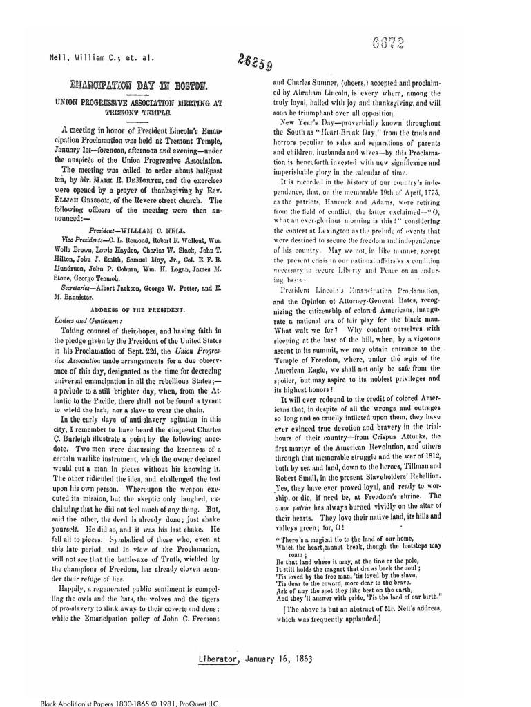 Emancipation news article