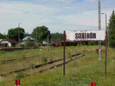 Historic sign at the railway spur in Sobibor.