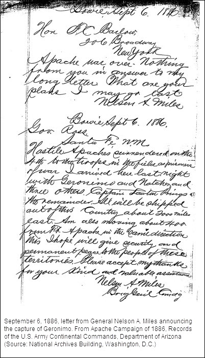 Letter from General Nelson A. Miles announcing the capture of Geronimo.