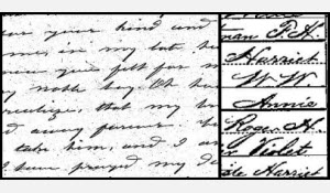 Letter from Harriet Weeks and Census entry