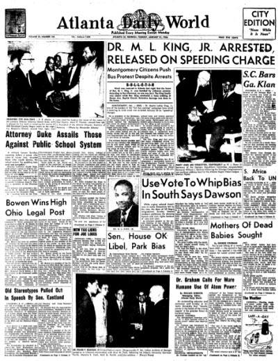 Front page of Atlanta Daily World, January 31, 1956