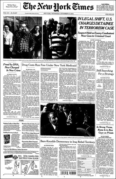 The New York Times, Nov 17, 2005, p. A1