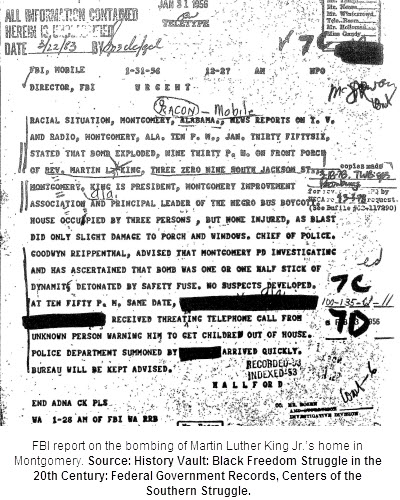 FBI report on the bombing of Martin Luther King Jr.'s home in Montgomery. Source: History Vault: Black Freedom Struggle in the 20th Century: Federal Government Records, Centers of the Southern Struggle
