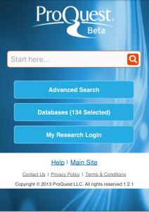 ProQuest Mobile Screenshot