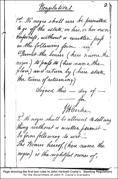 "Page showing the first two rules in John Hartwell Cocke's ""Standing Regulations for the Government of John H. Cocke's Overseers."""