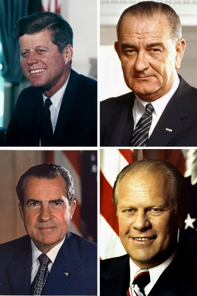 John F. Kennedy, Jr., Lyndon B. Johnson, Richard Nixon, Gerald Ford
