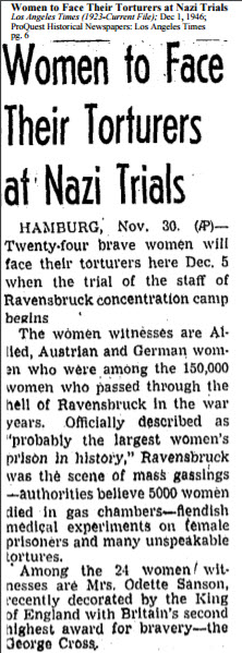 Women to Face Their Torturers at Nazi Trials, Los Angeles Times, Dec 1, 1946