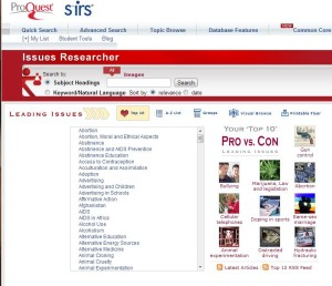 SIRS Issues Researcher homepage