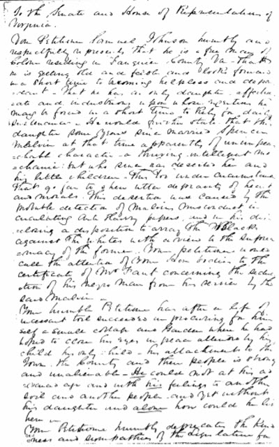 Samuel Johnson's petition to free his wife and daughter. ProQuest History Vault. Found in: Race, Slavery, and Free Blacks, Series I: Petitions to Southern Legislatures, 1777-1867