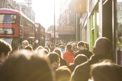 Crowded street in London