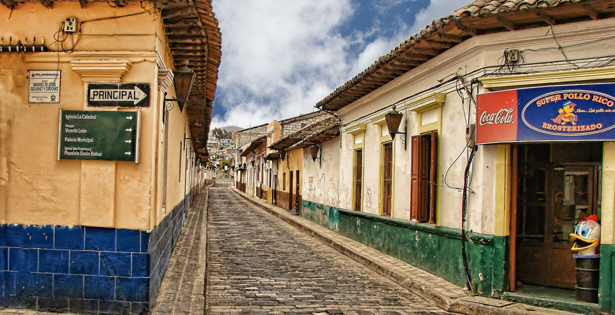 Cobblestone street in Guatemala