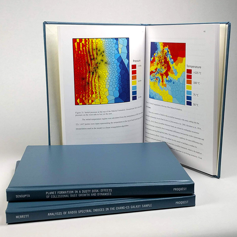 Sample ProQuest ETD print copy—Blue hardcover, 8.5 x 11