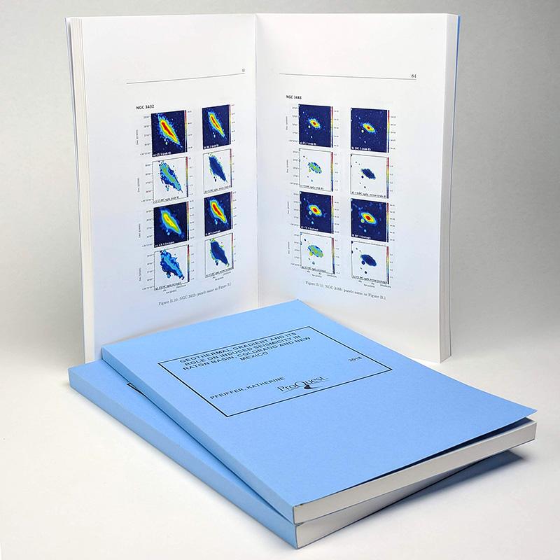 Sample ProQuest ETD print copy—Blue softcover, 6 x 9