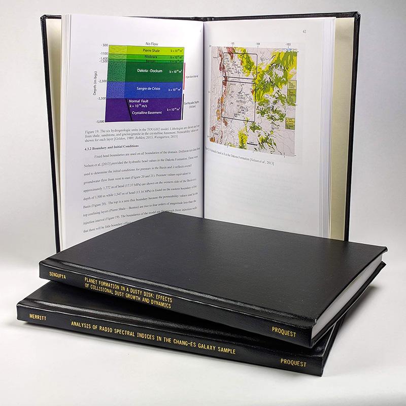 Sample ProQuest ETD print copy—Black hardcover, 8.5 x 11
