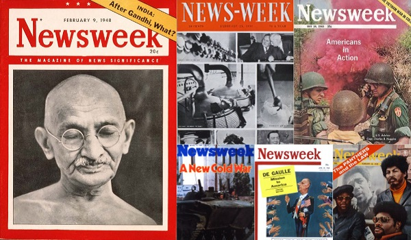 image of a series of Newsweek magazine covers
