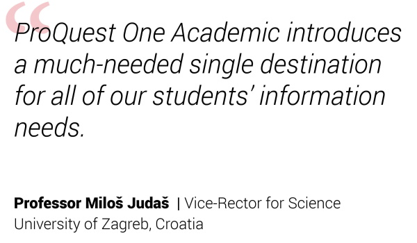 ProQuest One Testimonial Professor Miloš Judaš
