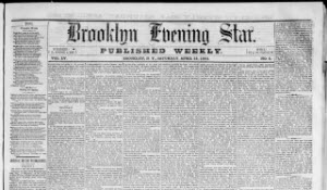 Brooklyn Evening Star front page
