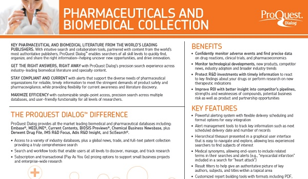 ProQuest Dialog Pharma Biomedical