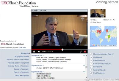 Visual History Archive: Testimony of Romeo Dallaire