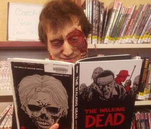 librarian reading zombie book